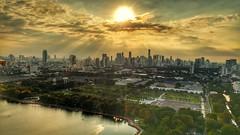 Bangkok (DeeMakMak) Tags: bangkok thailand skyline sunset sunbeams hdr