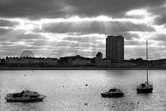 sun-rays over the harbour (maggie224 -) Tags: bw sun sunray sea margate coast