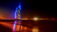 Burj Al Arab (Rollingstone16) Tags: burjalarab dubai dxb canon beach reflections architecture city urban nightlife longexposure