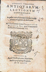 Carrion-Title page-1576 (melindahayes) Tags: 1576 pa3001c3a51576 carrionlouis antiquarumlectionum plantinchristophe octavoformat latin