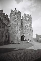 Hogwartian Gates (bigalid) Tags: fim 35m vuws april 2016 kodak bw400cn expired superheadzwideandslim bw alnwick castle northumbria