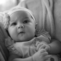 genetics are cool (jeneksmith) Tags: bw blackandwhite monochrome confused sweet cute newborn baby portrait canon