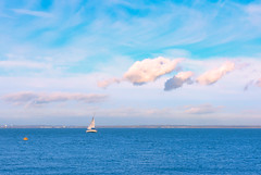 Buoy, Yacht and Cloud (Simon Downham) Tags: cowes england unitedkingdom gb buoy yacht sea scape land landscape seascape clouds pale pastel blue marine aqua turquoise mariner yachting