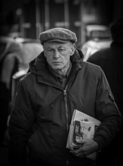 Just out of the Library (Stevie Toye) Tags: street photography portrait blackwhite grumpy library candid unaware flickr nikon zoom