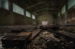 In school you floated over hardwood gymnasium floors, pointed at your wrist. (Robin Decay) Tags: kazernew kasernew gym basketball old mold rottenwood rottenfloor window light decay worn gymnasium