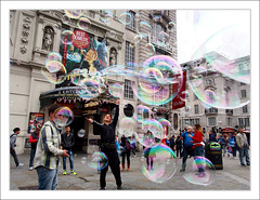Postcard from London (Eddie Hales) Tags: man london postcard bubbles olympus tourists piccadillycircus visitors