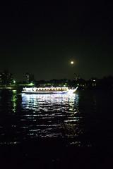 Houseboat and the moon (Kurobee) Tags: moon river boat houseboat sumidagawa yakatabune grd4