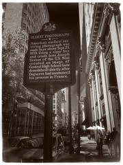 Urban Details -Photo Sign- BW (Firery Broome) Tags: street blackandwhite stilllife brick cars philadelphia monument monochrome sign stone architecture buildings reflections landscape blackwhite words cityscape traffic text cellphone streetscene historic tables philly 365 lightposts phonephoto apps onone historicmarker iphone ipad historicplaces urbandetails blackandwhitelandscape phoneography blackandwhitecityscape perfectbw iphoneography oldestphotograph ipaddarkroom snapseed iphone5s image86100 100xthe2015edition 100x2015