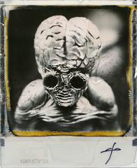 Metaluna Mutant. (Alice Adrenochrome) Tags: portrait bw halloween monster toy polaroid sx70 blackwhite toysphotography impossibleproject