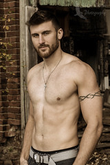 Model Justin (Shawn Collins Photography) Tags: shirtless portrait hairy man male men guy muscles tattoo canon beard model eyes industrial tank photoshoot modeling masculine muscular bodybuilder abs tone built wifebeater malemodel scruff hairychest hairymodel modellife