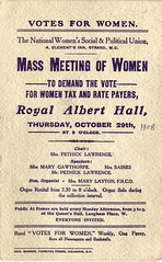 WSPU leaflet at the Royal Albert Hall, 29 October 1908
