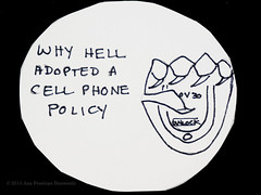 Why Hell Adopted a Cell Phone Policy #1 (Ana Penelope) Tags: humor cartoon hell cellphone