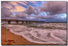 A Summer's Morn in Winter (Fraggle Red) Tags: ocean clouds sunrise dawn pier waves florida windy stormy atlanticocean hdr christmasday fishingpier pompanobeach 2015 7exp canonef1635mmf28liiusm browardco dphdr christmas2015