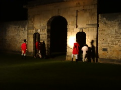 Norfolk Island. Kingston.  Sound and Light Show of the Penal Settlement buildings and story. The New Prison entrance built 1836 to 1840. (denisbin) Tags: arch norfolk prison soldiers georgian guards redcoats convicts norfolkisland soundandlight britishsoldiers