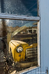 Last chance garage? (Photosuze) Tags: window cars wrecks garages buildings windows reflection vintage repair automobiles brokendown smalltown