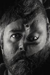 Mr Rotato Head.  299-366. (FadeToBlackLP) Tags: lightpainting lightart longexposure head unsettling dark deformed camerarotationphotography samyang 50mm canon art eyes symmertry beard taken strange surreal blackandwhite obscure 366project