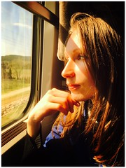 Heaven Must Be Missing An Angel (sjpowermac) Tags: eurostar chavalblanc provence marseille portrait railway train sncf passenger sunny thoughtful greeneyes thegirlonthetrain class373 stpancras