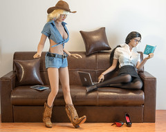 New Wood Floors (edwicks_toybox) Tags: 16scale couch cowboyboots cowboyhat cowgirl executivereplicas femaleactionfigure phicen seamlessbody sexylibrarian stormytempest vanhelsing