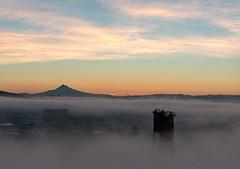 Fog over Portland (RaminN) Tags: mthood oregon portland bridge hawthorne sunrise foggy