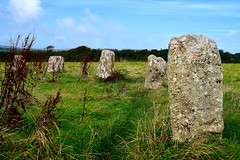 The Merry Maidens (rustyruth1959) Tags: nikon nikond3200 tamron16300mm cornwall outdoor stones standingstones themerrymaidens field architecture structure grass green sky blue history dawnsmen stburyan stonecircle granite megalith neolithic nineteen