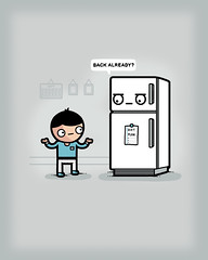 Back already? (randyotter) Tags: art design illustration cool fun drawing digital randyotter clever puns cute colour