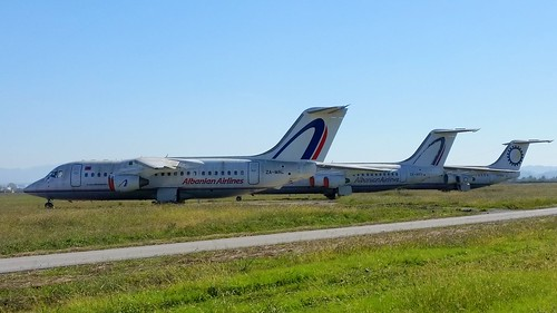 BAe.146's ZA-MAL, ZA-MEV & ZA-MAK Albanian Airlines stored at Tirana Airport, Albania