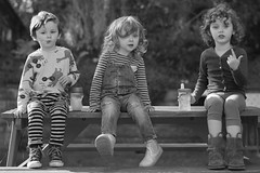 Little People (jayneboo) Tags: grandchildren bw mono garden ben norah roni children group leica summilux twins brothers sisters