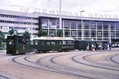Once upon a time - The Netherlands - Rotterdam Central Station (railasia) Tags: holland zuidholland rotterdam centralstation ret tmr steamlocomotivetrailerwagon heritage heritagerun infra stationbuilding stationsquare eighties