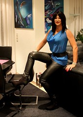 Comfy evening........ (ailananata) Tags: tgirl transvestit transgender tranny tight bluejeans highheels ravenhaired brunette sandals shemale crossdresser crossdressing boots ankleboots denim milf casual skintight leather leggings
