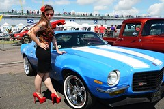 Holly_7343 (Fast an' Bulbous) Tags: long brunette hair people outdoor wiggle dress skirt girl woman hot sexy chick babe seamed silk stockings high heels red shoes legs beauty car vehicle automobile oldtimer classic sunglasses santapod dragstalgia model pose england summer hotty stilettos pinup