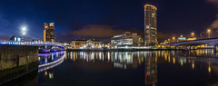 River Lagan and Obel Tower Belfast (Conor Daniel Kinahan) Tags: belfast northern north ireland county antrim city landscape nightscape relfection reflected trails bridge water lagan river cold warm transition cityscape outdoors view skyscraper bokeh light nikon night nighttime
