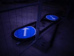 (blazedelacroix) Tags: signs blue behind grind metal blazedelacroix night arrows contradiction