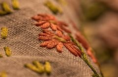 Daisy Stitch (Shastajak) Tags: linen embroidery embroidered needlework stitch macro macromonday