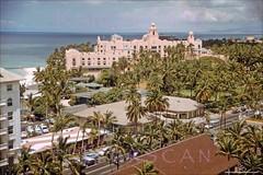 Kalakaua Birdseye Waikiki 1950s (Kamaaina56) Tags: 1950s waikiki hawaii slide outriggerarcade royalhawaiian