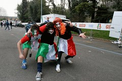 Italian Rugby Supporters (see animation below) (FotoFling Scotland) Tags: kilt rugby italy rome skirt male makeup wig