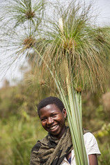 Slivia with papyrus from the wetland 2 (Kristina Just) Tags: africa uganda wetland papyrus youth woman