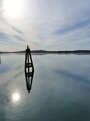 Bodega reflections - EXPLORE #336, 11.30.16 (Kazooze) Tags: sky reflections horizon abstract outdoor sun nature thanksgiving birds cormorants explore