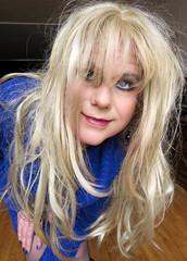 Coocoo! (Irene Nyman) Tags: irene nyman dutch transvestite crossdresser sweater dress holland smile blue coocoo purple nail varnish