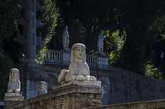 "faces along the road, Viale Gabriele D'Annunzio, from Piazza del Popolo, towards, Villa Borghese, Rome, Italy (grumpybaldprof) Tags: ""piazzadelpopolo"" lookingupalong""vialegabrieled'annunzio""inthedirectionof""villaborghese"" inscrutable sphinxes inscrutablesphinxes rome roma art history summer holiday vacation sun sky blue colours architecture italy shadows statues sculpture rock marble hairpin road bends sunshine sunlight tamron 16300 16300mm ""tamron16300mmf3563diiivcpzdb016"" hdr"