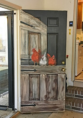 Chickens on the Door (BKHagar *Kim*) Tags: bkhagar painting art artwork walls painted mural animals artist home sale estatesale chicken rooster details