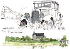45 Sully-sur-Loire (gerard michel) Tags: france sketch citroën loire château croquis ancêtre