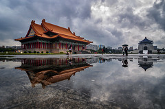 中正紀念堂倒影 - Chiang Kai-shek Memorial Hall reflections - TAIWAN (urbaguilera) Tags: city sky urban storm color water rain skyline architecture clouds umbrella reflections landscape design hall concert pond nikon memorial theater angle outdoor traditional year wide chinese taiwan palace tokina national environment taipei chiang 城市 5th ultra 臺灣 taiwanese built 云 水 中正紀念堂 設計 kaishek 國家音樂廳 漂亮 雨天 地標 倒影 美麗 臺北市 都市計劃 天際線 中正區 danielaguilera 中國傳統建築 urbaguilera