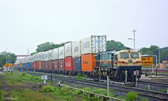 LKO WDG4 # 12414 WITH DOUBLE STACK CONTAINER FREIGHT AT BOTAD JN (agarwal_ankit@ymail.com) Tags: double stack botad lko wdg4