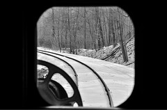 Through the Window (MikeArmstrong) Tags: snow train mary maryland steam caboose western lookingback scenicrailway scen 734