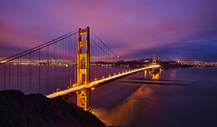 Golden Gate Bridge by night (swissukue) Tags: sanfrancisco california bridge usa golden perfect gate san francisco nightshot sony goldengate 100 bluehour a7 greatphotographer 100faves 600faves perfectioninphotography ilce7