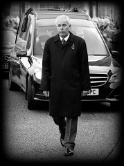 Funeral Director (* RICHARD M (Over 6 million views)) Tags: street candid mono funeraldirector undertaker liverpoolanglicancathedral liverpoolcathedral howardkendall everton evertonfc funeral howardkendallsfuneral funeralservice sombre sad sadness hearse funeralprocession funeralcars cars vehicles motors stjamesmount liverpool merseyside finalfarewell motorcade solemn mournful undertaking riphowardkendall funerals