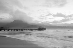 Hanalei Bay (sathellite) Tags: ocean hawaii pier pacific sunsets kauai hanalei hanaleibay hawaiisunset sathellite shishirsathe hawaiimonochrome