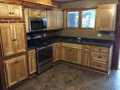 Full Kitchen & Bath remodel (woodstockfloors) Tags: kitchen tile bathroom vinyl flooring cabinets installed hickory laminate lvt