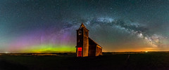 Dooley Milky Way 1.5 (Jack Lefor) Tags: church abandoned night aurora stars panorama panoramic landscape scenic lightpainting milkyway nikond810 nikon montana