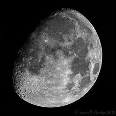 Moon Mosaic October  11, 2016 (Zeta_Ori) Tags: moon luna waxinggibbousmoon canont3i explorescientific3xbarlow celestronadvancedvxmount registax mosaic blackandwhite monochrome blackbackground texture orion2xshortybarlow